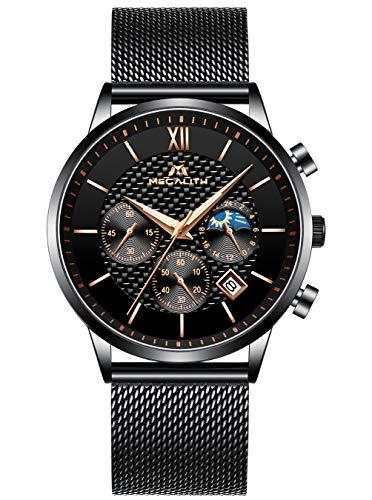 Relojes Hombre Negros Relojes Cronógrafo Militar Cuarzo de Acero Inoxidable Prueba de Agua Relojes de Pulsera para Hombres Clásico Diseñador Fecha Calendario Fase Lunar