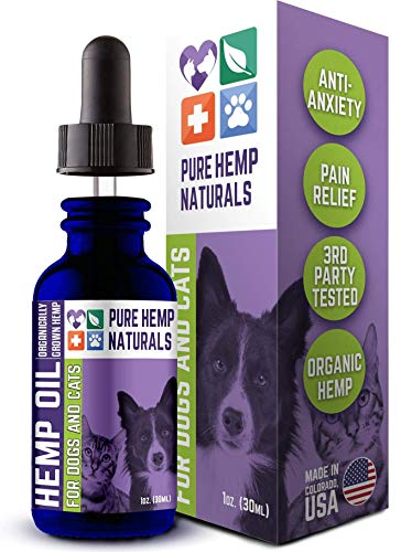Pure Hemp Naturals Hemp Oil for Dogs and Cats - Stress and Seperation Anxiety Relief - Supports Hip and Joint Health - Veterinarian Formulated - USA Grown and Made - Veteran Owned Company (1 Bottle)