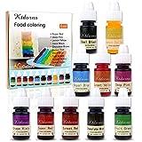 Colorant alimentaire liquide-10 Couleurs de Colorant Alimentaire Liquide Concentré pour Gâteau, Cuisson, Décoration, Glaçage - Colorants Alimentaires arc-en-ciel pour Slime, Artisanat