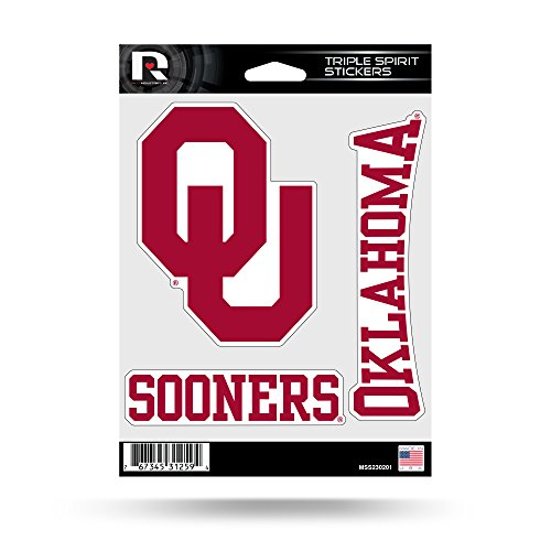 NCAA Oklahoma Sooners Die Cut 3-Piece Triple Spirit Sticker Sheet