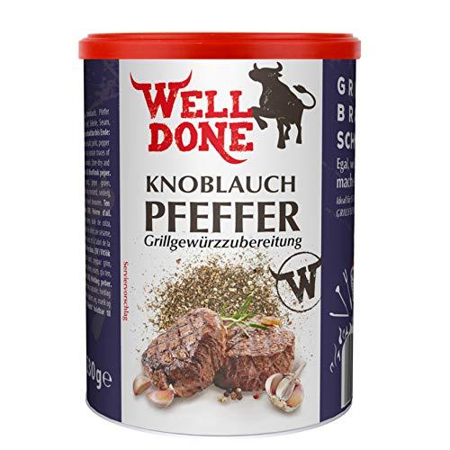 WELL DONE Knoblauchpfeffer 5er Pack, 5 x 230 Gramm, Gewürzmischung zum Verfeinern von Grillfleisch im Streuer