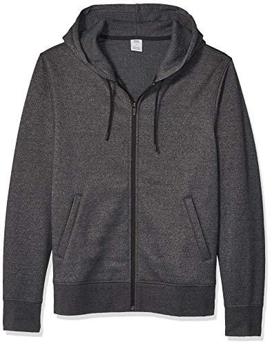 Amazon Essentials Men's Water-Repellent Thermal-Lined Full-Zip Fleece Hoodie, Charcoal Heather, Large