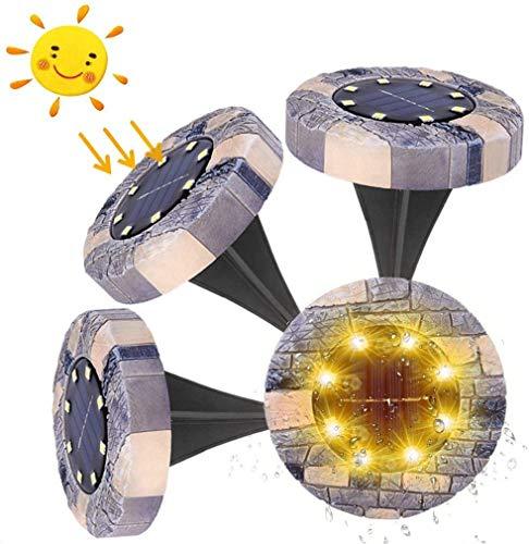 Solarlampen für Außen, kdorrku 4 Stück IP65 Wasserdicht Solar Bodenleuchten Gartenleuchte, 8 LEDs Warmweiß Landschaft Beleuchtung, Led Einbaustrahler Solarleuchten Garten für Yard, Auffahrt, Rasen