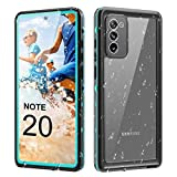 Samsung Galaxy Note 20 Waterproof Case, IP68 Waterproof Snowproof Shockproof Dirtproof, Fully Body Protective Cover for Samsung Galaxy Note 20 (6.7-inch) (Blue + Clear)