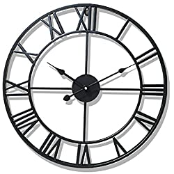 PeleusTech Wall Clock, 20-inch Dia Large Iron Metal Vintage Retro Indoor Wall Clock with Roman Numerals - (Black)