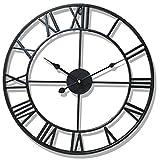 MAJOZ Reloj de Pared de Metal Estilo Vintage - Reloj de Pared 3D Silencioso para Decoración de Hogar - diámetro 50 cm (Negro)