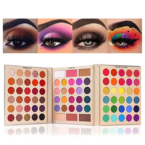 UCANBE BELLE 86 Colors All-Purpose Makeup Playbook Matte Shimmer Glitter Eyeshadow with Highlight Contour Blush Eye Face Cosmetics Set