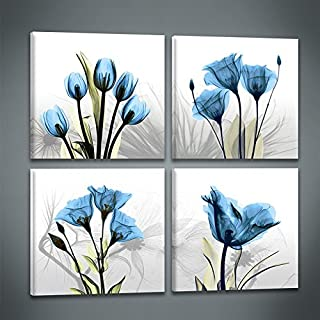 Abstract Blue Tulip Flower Painting Art 4 Panles Canvas Picture Print Modern Elegant Artwork for Living Room Home Decoration