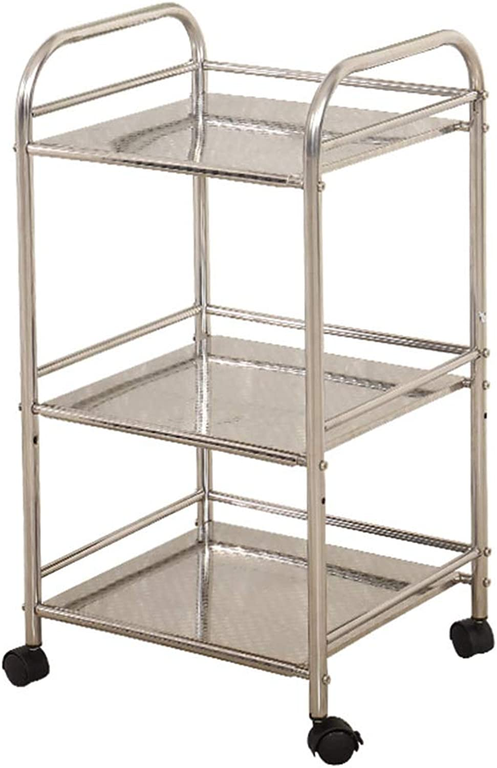 Rolling Cart 3 Tiers, Kitchen Beauty Salon, Medical Nail Service Cart, Multi-Function Practical Mobile Storage Rack, Stainless Steel Silver Load-Bearing 80kg