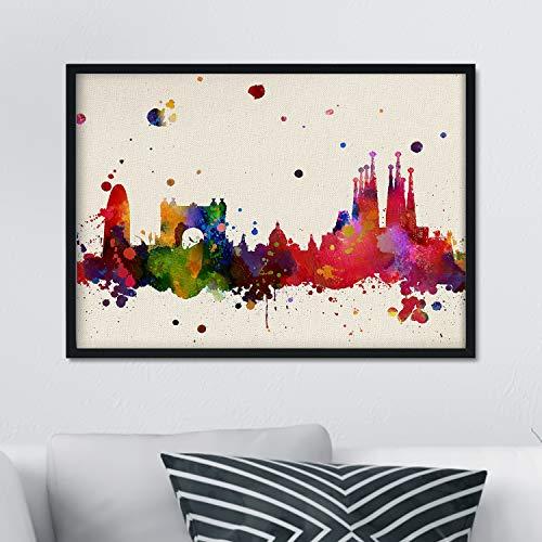 Nacnic Lámina Ciudad de Barcelona. Skyline Estilo Acuarela y explosión de Color. Poster tamaño A3 Impreso en Papel 250 Gramos y tintas de Alta Calidad. Decoración del hogar. Diseño al Mejor Precio.