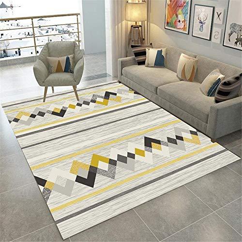 La Alfombra alfombras para Comedor Amarillo Gris Alfombra geométrica Lavado de Agua fácil Limpieza Sala de Estar alfonbras de dormitorios alfombras Lavables en Lavadora 100*160cm