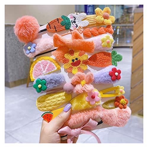 WEIYUE Kinder-Haarnadel, Kopfschmuck, Seil, niedlich, Plüsch-Haarnadel, Pony, Haarzubehör (Farbe: J22-teilig)