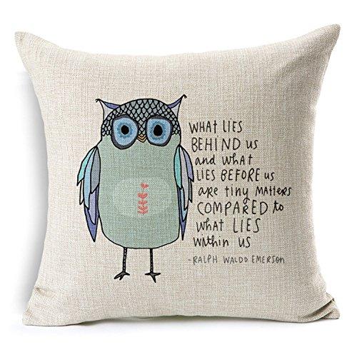 Decorbox Cotton Linen Square Throw Pillow Case Decorative Cushion Cover Pillowcase Owl Sayings (oil 16x16inch)
