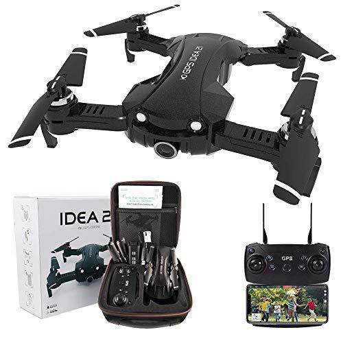 le-idea Drone con Camara HD,4K Drones con Camara Profesional Estabilizador GPS, 5G WiFi FPV Drone Tiempo Real, Largo Tiempo de Vuelo Drone 16 Minutos Drone Plegable RC【Actualizar IDEA21】