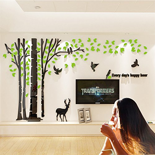 JYSPT DIY 3D Huge Forest Tree Wall Stickers Crystal Acrylic Wall Decals Wall Murals Home Decorations Arts for Home Decoration Living Room Bed Room ¨ Green Left, M
