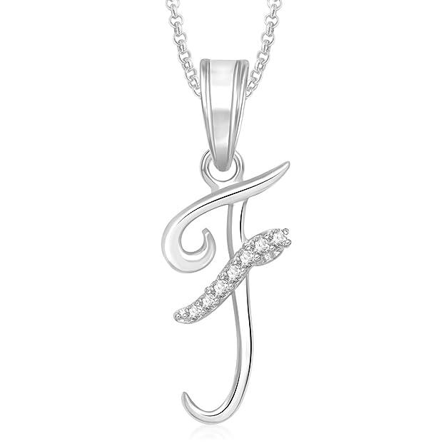 MEENAZ Fashion Jewellery Valentine Gifts Silver 'F'