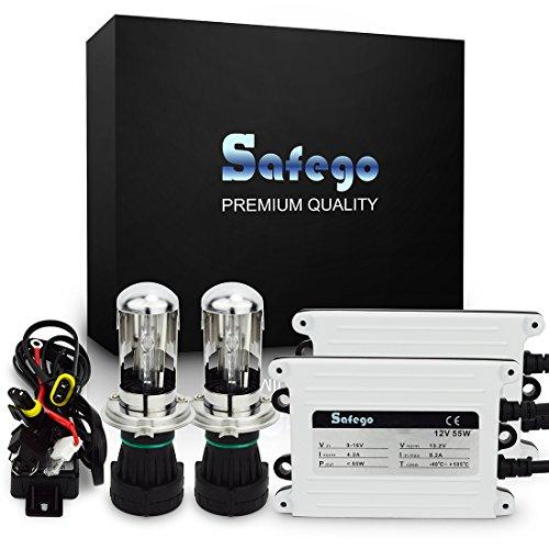 Safego 55W H4 Bi Xénon H/L AC Kit de Conversion Slim Xenon HID Set H4-3 High Low Lampe à Décharge Phare Ampoule de Rechange 6000K Blanc