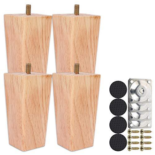 4 Stück Holz Sofafüße 6cm/10cm/15cm Möbelfüße, Holz Möbelfüße, Aus Eiche für Sofa, Schrank und Bett, mit Schrauben und Filzgleiter (10CM)