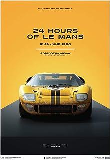 Automobilist Store Ford GT40-24 Horas de Le Mans 1966 - Yellow - Unique Design Póster de Edición Limitada - Tamaño de póster estándar 50 x 70 cm