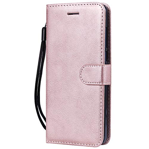 Hülle für Nokia 3.1Plus Hülle Handyhülle [Standfunktion] [Kartenfach] Tasche Flip Hülle Cover Etui Schutzhülle lederhülle flip case für Nokia 3.1 Plus - DEKT051456 Rosa Gold