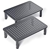 2 Pack Premium Laptop PC Monitor Stand with Sturdy, Stable Black Metal Construction. Fashionable...