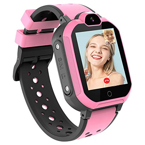 4G Smart Watch for Kids - WiFi GPS Smartwatch Phone Waterproof Touch Screen Digital Wrist Watch with Call Voice Video Chat Pedometer Fitness Tracker Alarm Clock for Boys Girls (Pink)