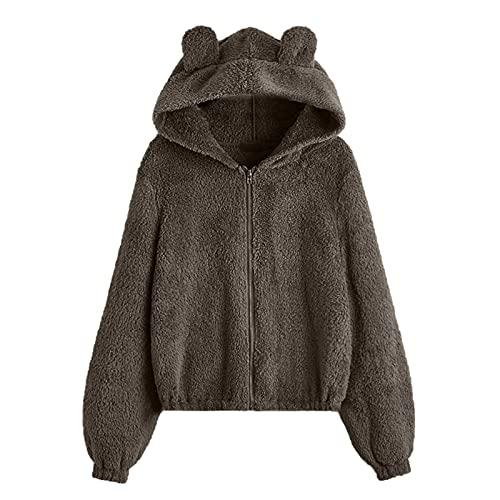 WAo Sudadera de forro polar con capucha para mujer, con cremallera, estilo casual, color sólido, con capucha, chaqueta suelta, abrigo al ras de invierno, cálido, Marrón sólido., XXL