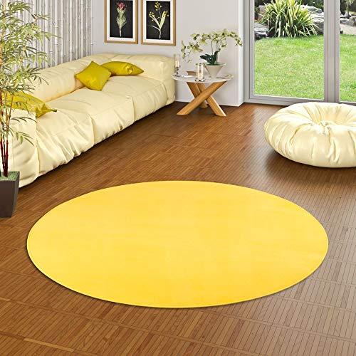 Alfombra redonda amarilla - 4 tamaños