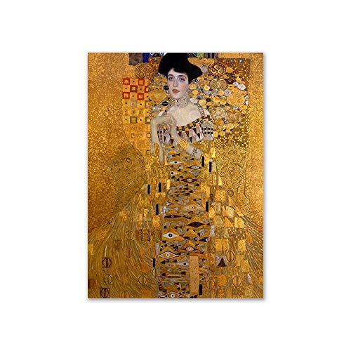Jiushixw Kus van Gustav Klimt olieverfschilderij, canvas, muurschildering, voor woonkamer, stijlvolle bloch boer, portret-decoratie, afbeeldingen 60x90cm