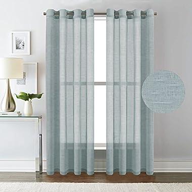 H.VERSAILTEX Natural Linen Poly Curtains - Nickel Grommet Top Window Treatments Semi-Sheers - Teal - 52  W x 84  L - (Set of 2 Panels)