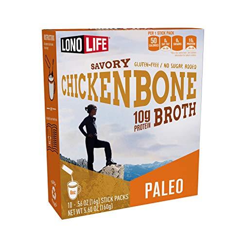 LonoLife Chicken Bone Broth Powder with 10g Protein, Paleo and Keto Friendly, Stick Packs, 10 Count