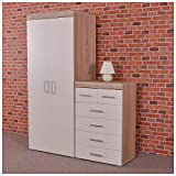 DRP Trading 2 Door Wardrobe & 4+2 Drawer Chest in White & Sonoma Oak Bedroom Furniture Set 6 Draw
