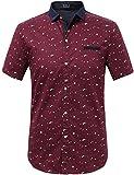 SSLR Camisa Manga Corta Estampada de Algodón Casual para Verano de Hombre (Medium, Rojo)