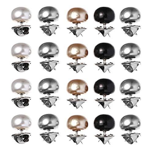 ABOOFAN 20Pcs Botões de Pérola de Metal Botões de Broche de Segurança Botões de Costura para Roupas Camisa Blusa Manga Colarinho Roupas Roupas Suprimentos (Cor 1)