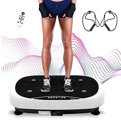 ATIVAFIT Fitness con Piattaforma Vibrante Pedana Vibrante per Allenamento Intelligente Fitness, Allenamento Ampia Area Antiscivolo, Schermo LCD e Telecomando 2 Fascia Elastica (Bianco)