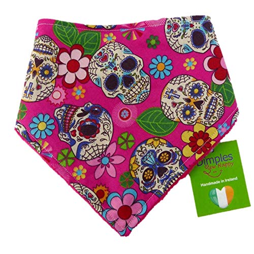 Dimples Hundehalstuch - Mexikanische Totenköpfe pink - Halstuch für kleine mittlere und Grosse Hunde Welpen und Katzen - Hunde Besitzer Geschenk - Handgemachtes Hunde Accessoire 25cm