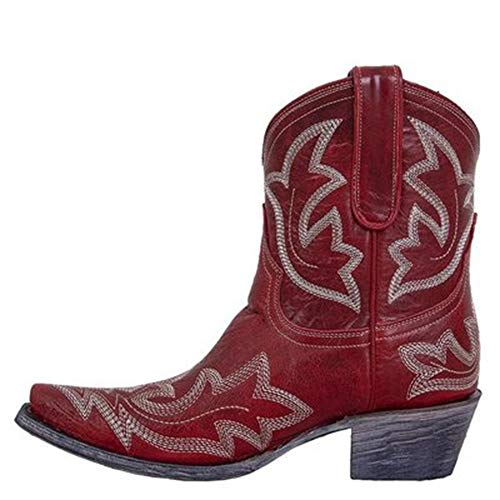AicciAizzi Women Classic Cowboy Boots Wide Calf Western Cowgirl Boots Slip on Embroidery Shoes Red Size 36 Asian