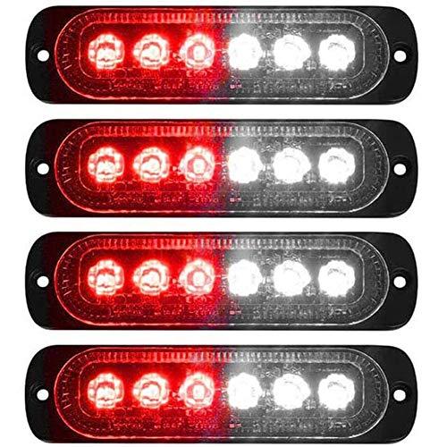 XT AUTO 4pcs Universal 12V-24V Super Bright Red/White 18W 6-LED Warning Emergency Construction Surface Mount Beacon Flash Caution Strobe Light Bar