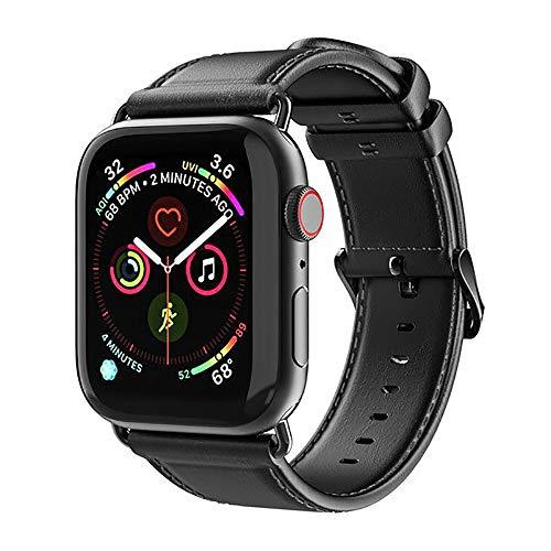 O RLY - Cinturino di ricambio in pelle compatibile con Apple Watch Band 42 mm 44 mm per Watch Series 5 4 3 2 1 (nero classico)