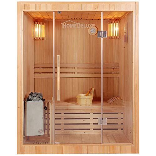 Home Deluxe - Traditionelle Sauna - Skyline L - Holz: Hemlocktanne - Maße: 120 x 150 x 190 cm - inkl. komplettem Zubehör | Dampfsauna Aufgusssauna Finnische Sauna