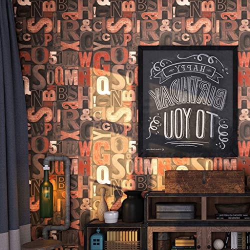 Papel Pintado Wallpaper PVC Papel pintado retro industrial estilo nostálgico Graffiti Alfabeto Inglés Personalidad pintado no autoadhesiva ideal for el fondo del café restaurante tienda de ropa de tel