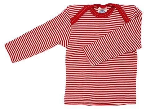 Cosilana Baby Schlupfhemd, Größe 74/80, Farbe Geringelt Rot-Natur - Wollbody®GmbH