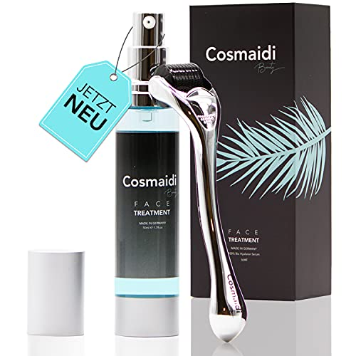 Cosmaidi Dermatologisch getestetes 2in1 Hyaluron-Serum inkl. Premium Dermaroller 0,5mm echten Nadeln, für die noch bessere Anwendung, Anti-Aging Serum vegan und ohne Tierversuche Naturkosmetik
