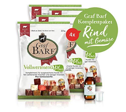 Graf BARF Komplettpaket Menü vom RIND mit Gemüse – Barf Hundefutter gefroren – Frischfleisch – stückig in wiederschließbaren Beuteln – 100% artgerecht & natürlich – 10kg