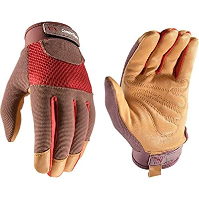 Women's Breathable ComfortHyde Leather Hybrid Work Gardening Gloves, Small (Wells Lamont 7872)