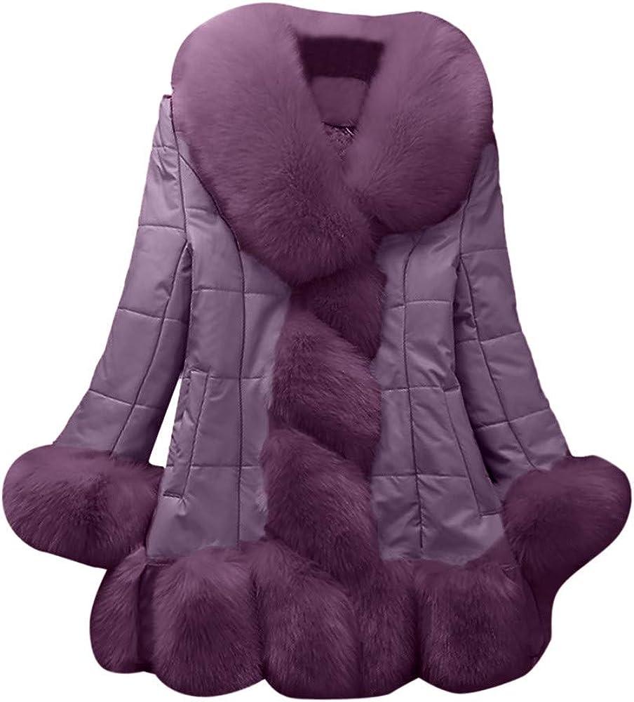 VEZAD Faux Fur Coat Women Elegant Warm Splice Long Fake Fur Down Jacket