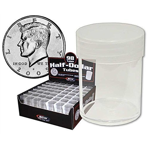 (20) BCW Brand Round Clear Plastic (Half Dollars) Size Coin Storage Tube Holders with Screw on Lid, Model: , Office Shop
