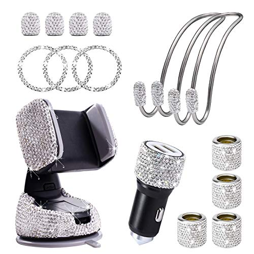 Auto Zubehör Innenraum Frauen, Autozubehör Innenraum Glitzer, Auto Deko Glitzer, Car Accessories Interior Girls, Bling Bling Auto Dekoration Ventilkappen, Usb Adapter, Handyhalterung Set Geschenk