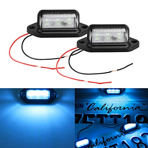 LivTee Waterproof 12V LED Tag License Plate Lamp Light for Truck SUV Trailer Van, Step Courtesy Lights, Dome Cargo Lights or Under Hood Light, Ice Blue(2-Pieces)