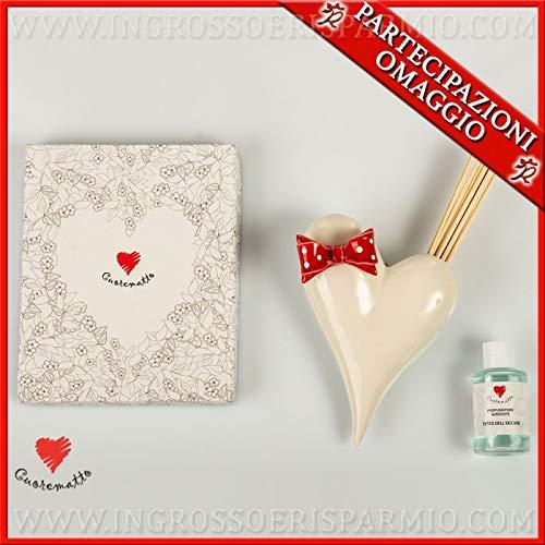 Cuorematto - Vaso profumatore da muro a forma di cuore bianco con fiocco rosso in porcellana, bomboniere moderne solidali matrimonio, con scatola regalo inclusa (con confezione tiffany)